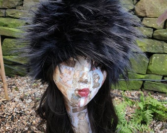 Extra Long Spiky Black Textured Faux Fur Hat- Cosy Polar Fleece Lining- Statement Piece-Russian Hat-Fur Hat-Fake Fox Fur-Fake Fur Hat-Winter