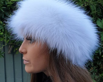 Long White Faux Fur Headband / Neckwarmer / Earwarmer Handmade in Lancashire England