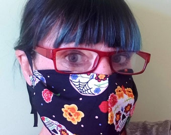 Facemask with Filter Pocket-5 Designs-Cotton Face Mask-Fashion Mask-Reusable Face Mask-Washable Face Mask-Day of The Dead-Polka Dot-Bees