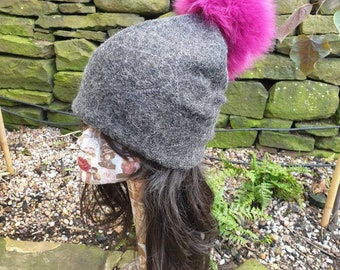 Grey Wool Slouchy Hat with Large Magenta Pom Pom  Fully lined with Polar Fleece
