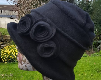 Cosy Black Fleece Hat with Pleated Top-Fully Fleece Lined-Downton Abbey Hat-Womens Fleece Hat-Womens Fleece Winter Hat-Ladies Winter Hat