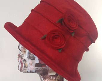 Red Wool Felt-Cloche Hat with Cosy Fleece Lining- Wool Felt Hat-Downton Abbey Hat-1930's-Womens Winter Hat-Womens Felt Hat-Flapper Hat
