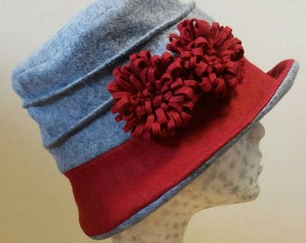 Grey and Red Wool Felt Hat with Flower Detail and with Polar Fleece Lining