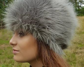 Super Fluffy Mid Silver Grey Luxury Faux Fur Hat