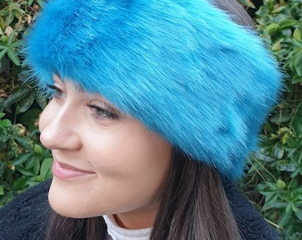 Peacock Blue Luxury Faux Fur Headband / Neckwarmer / Earwarmer Handmade in Lancashire England