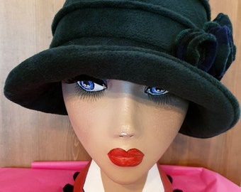 Dark Green Polar Fleece Hat-Polar Fleece Lining-Downton Abbey Hat-Womens Fleece Hat-Womens Fleece Winter Hat-1930's-Ladies Winter Hat