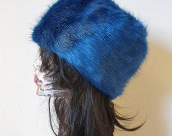 Sapphire Blue Luxury Short Faux Fur Hat with Polar Fleece Lining-Fur Hat-Fake Fur Hat-Winter Hat-Long Fur Hat-Cossack Hat-Blue Fur Hat