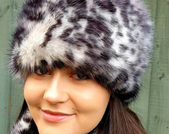 White Leopard Faux Fur Hat-Russian Style Hat-Polar Fleece Lining-Ladies Winter Hat-Faux Fur-Fur Hat-Winter Hat-Fleece Hat-Polar Fleece Hat
