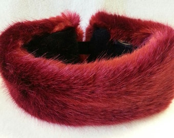 Super Luxury Deep Red Faux Fur Headband / Neckwarmer / Earwarmer Handmade in Lancashire England