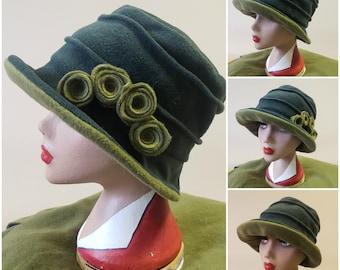Cosy 2 Tone Green Fleece Hat-Plain or Flower Decoration-Fleece Lined-Downton Abbey Hat-Womens Fleece Hat-Womens Fleece-Ladies Winter Hat