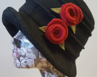 Handmade Black Fleece Hat with Red Flowers-Polar Fleece Lining-Downton Abbey Hat-Cloche Hat-Womens Fleece Winter Hat-1930's Hat-Fleece Hat
