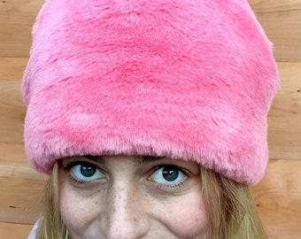 Pink Faux Fur Pom Pom Hat-Fully Lined with Polar Fleece-Pom Pom-Fake Fur Hat-Pink Hat-Ladies Winter Hat-Fleece Hat