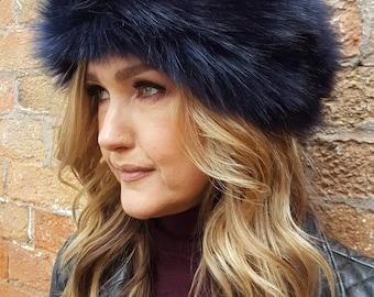 Navy/Black Faux Fur Headband- Neckwarmer- Earwarmer-Fur Headband-Fake Fur Headband-Fur-Fleece-Polar Fleece