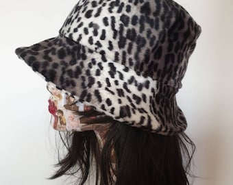 Silver Leopard Print Short Faux Fur Bucket Hat-Fleece Lining-Furry Bucket Hat-Animal Print Bucket Hat-Festival Hat