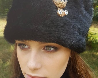 Panda Hat. Choose a Gold Or Silver colour Panda brooch for this lively soft black faux fur hat