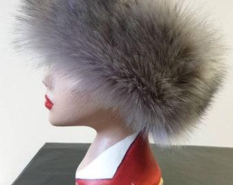 Stunning Steel Grey Luxury Faux Fur Headband-Grey Fur Headband-Neckwarmer-Gray Fur-Fake Fur Headband-Dark Grey Fur