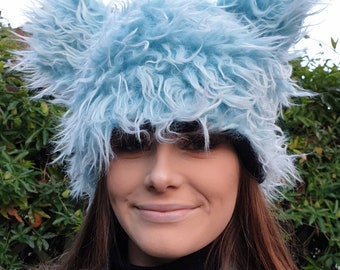 Fluffy Bear Hat in Twisty Baby Blue. Fully Lined With Polar Fleece.