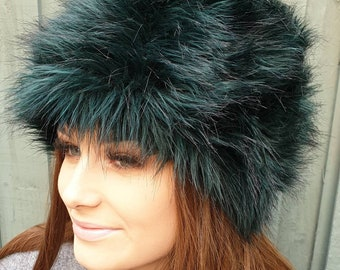 Bottle Green/Black Faux Fur Russian Style with Cosy Polar Fleece Lining