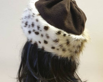 Fleece Top Faux Cheetah Fur Hat- Chocolate Brown Top- Polar Fleece Lined-Womens Fur Hat-Animal Print Hat-Animal Faux Fur Hat