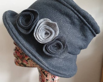 Fully Lined Dark Gray Cloche Hat With Flower Trim and Cosy Fleece Lining