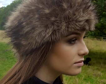 Coyote  Faux Fur Headband- Neckwarmer -Earwarmer -Handmade in Lancashire-Fake Fur Headband-Fur Headband-Ladies Headband-Ladies Earwarmer