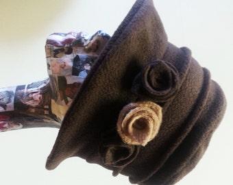 Handmade Chocolate Brown Fleece Hat With Cosy Fleece Lining and Fleece Flowers