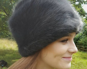 Super Luxury Dark Grey Faux Fur Hat with Polar Fleece Lining.