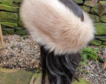 Stunning Creamy Luxury Faux Fur Headband with Brown Tips- Fur Headband-Neckwarmer-Cream Fur-Fake Fur Headband-Beige Fur