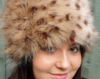 Handmade in England Luxury Faux Fur Cheetah Hat- Fleece Lining-Fur Hat-Fake Fur Hat-Winter Hat-Long Fur Hat-Cossack Hat-Animal Print-Leopard
