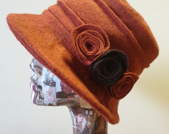 Burnt Orange Wool Felt Hat- Cloche Hat-Fleece Lined- Downton Abbey Hat-Ladies Winter Hat-Felt Hat-Fleece Hat-Wool Hat- Boiled Wool