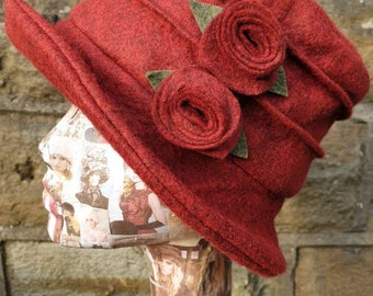 Deep Red Wool Felt Hat-Fleece Lining- Cloche Hat-Downton Abbey Hat-1930's Hat-Womens Winter Hat-Womens Felt Hat-Flapper Hat