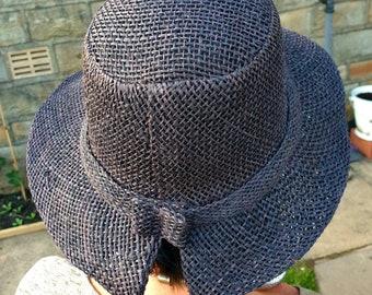 Lovely Black Sun Hat-Raffia and Sisal Mix-Raffia Sun Hat