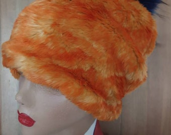 Cosy Orange Faux Fur Slouchy Hat Large Pink or Blue Pom Pom-Fully lined with Polar Fleece-Fur Pom Pom Hat-Womens Fleece Hat-Faux Fur Pom Pom