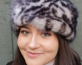 Fleece Top Faux Fur Hat in White Leopard with Full Polar Fleece Lining