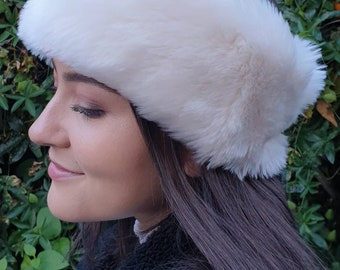 Soft Cream Faux Fur Headband / Neckwarmer / Earwarmer Handmade in Lancashire England