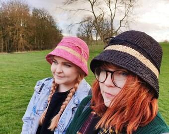 Crochet Raffia Hat in Pink or Black