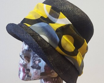 Black Raffia Cloche 20's Style Sun Hat with Swirly Band in Choice of 4 Colours