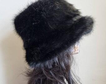 Super Luxury Black Faux Fur Bucket Hat-Festival Hat-Floppy Hat-Fur Hat-Fake Fur Hat-Rave Hat-Black Fur Hat-Black Furry Hat