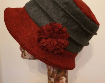 Fully Polar Fleece Lined-Red and Gray Cloche Hat- Wool Felt Hat-Downton Abbey Hat-1930's-Womens Winter Hat-Womens Felt Hat-Flapper Hat