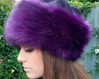 Fleece Topped Faux Fur Hat in 'Purple' with Full Polar Fleece Lining