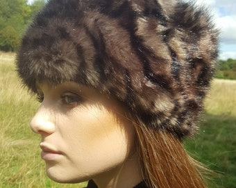 Silver Leopard  Faux Fur Russian Style with Cosy Polar Fleece Lining