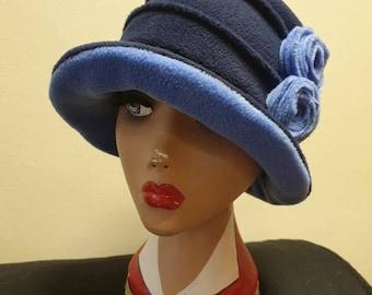 Two Tone Blue Fleece Hat-Fully Fleece Lined-Downton Abbey Hat-Womens Fleece Hat-Womens Fleece Winter Hat-Ladies Winter Hat