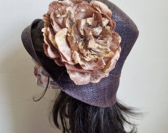 Dark Brown Raffia Cloche 20's Style Sun Hat with Large Velvet and Silk Peony in a Cappuccino Colour- Straw Sun Hat- Raffia Sun Hat-Sun Hat