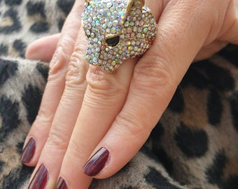 Super Sparkly Statement Piece Large Leopard Rhinestone Ring