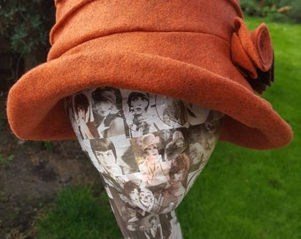 Burnt Orange Wool Felt Hat-Flower Detail-Fully Fleece Lined-Downton Abbey Hat-Womens Fleece Hat-Womens Fleece Winter Hat-Ladies Winter Hat