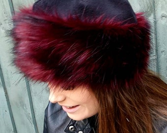 Fleece Topped Faux Fur Hat in 'Red Fire' with Full Polar Fleece Lining