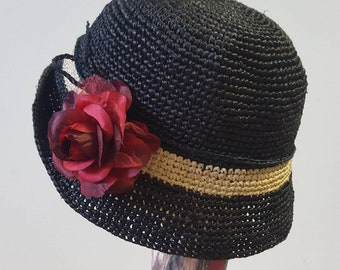 Crochet Raffia Hat in Black or Chocolate with Silk and Velvet Red Rose Trim