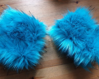 Kingfisher Blue Luxury Faux Fur Cuffs- Faux Suede Lining- Elasticated One End-Wrist Cuffs-Faux Fur Cuffs-Fluffy Cuffs-Fur Cuffs-Jacket Cuffs