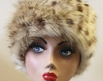 Handmade in England Luxury Faux Fur 'Ocelot' Hat. With Fleece Lining