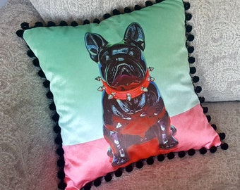 Spike the French Bull Dog Print Cushion/Cushion Cover on 100% Cotton Shimmer Velvet. 45cm x 45cm. Printed from original artwork.
